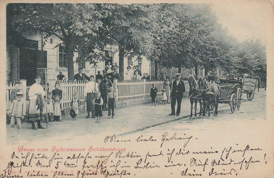 Restauracja Sydowsaue Schutzenhaus na starej pocztówce
